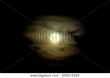 Full moon on dark sky with mist black background
