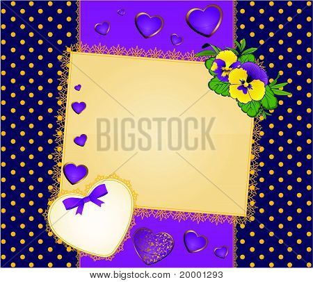 Heart with lace ornaments and flowers