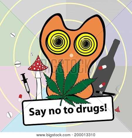 No smoking poster. Social banner about narcotic dependence. Vector illustration. Say no to drugs.