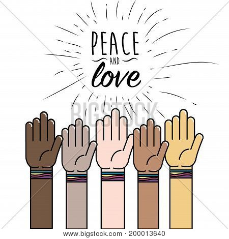people hand to peace worldwide liberation vector illustration