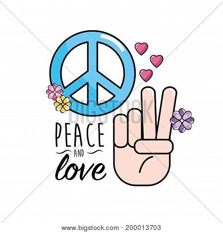 peace and love symbol and global spirit vector illustration