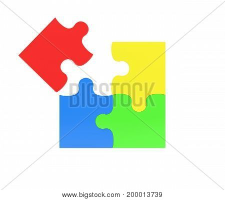 3d rendering of four multicolored puzzle pieces isolated on white background. Fitting in. Unity. Jigsaw.