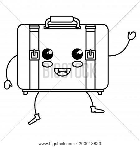 suitcase travel kawaii character vector illustration design