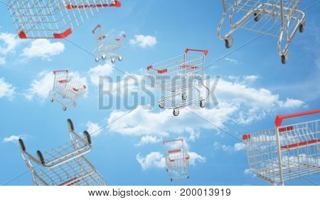 3d rendering of a blue cloudy sky full of flying and falling supermarket carts in different views. Final sale. Supermarket equipment. Promotions and best offers.