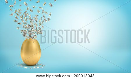 3d rendering of a large golden egg with a broken top that lets many dollar bills fly out. Spending spree. Cash flow. Wealth and prosperity.