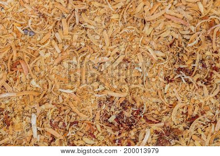 Close up abstract texture background brown Wood chips in nature