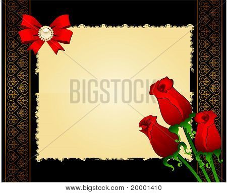 Red rose on a background of a decorative frame for text