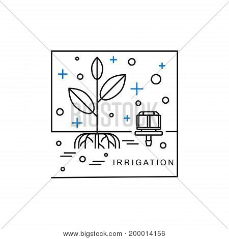 Sprinkler irrigation. Line icon with plant and dropper. Vector illustration.