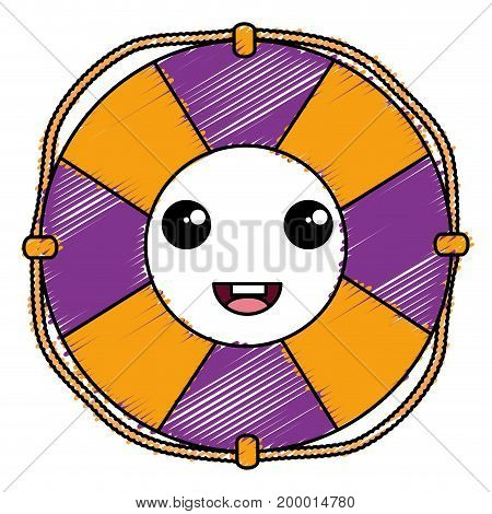 float lifeguard kawaii character vector illustration design