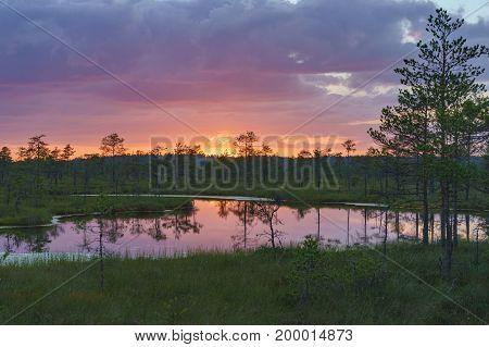 Wonderful sunset with colorful clouds over Suru Suursoo bog Harju county Estonia