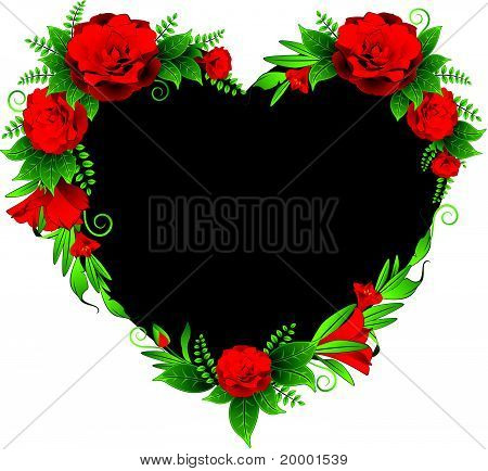 Heart from roses on background. Vector
