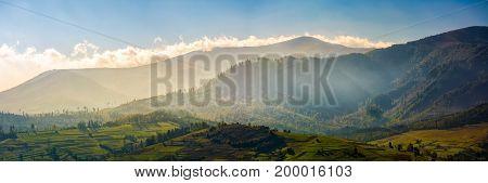 Panorama Of Mountainous Rural Area At Sunrise