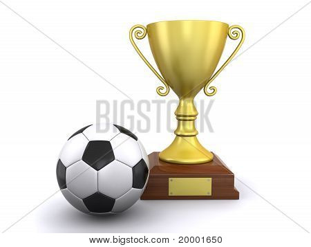 Soccer Ball And A Trophy
