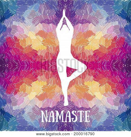 artistic banner template for yoga retreat or yoga studio, funky colors, vector illustration