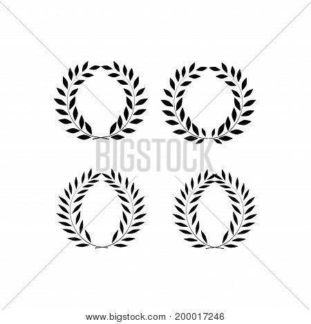 Wreath reward isolated set. Modern symbol of victory and award achievement champion. Leaf ceremony awarding of winner tournament. Monochrome template for badge tag. Design element Vector illustration