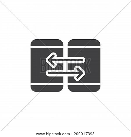 Mobile device synchronization icon vector, filled flat sign, solid pictogram isolated on white. Sync symbol, logo illustration. Pixel perfect