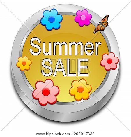golden Summer Sale Button - 3D illustration