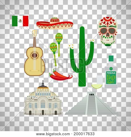 Mexico icons and flag in flat style set isolated on transparent background. Vector illustration