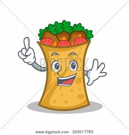 Finger kebab wrap character cartoon vector illustration