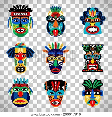 Zulu or aztec mask vector icons. Mexican indian inca warrior masks isolated on transparent background