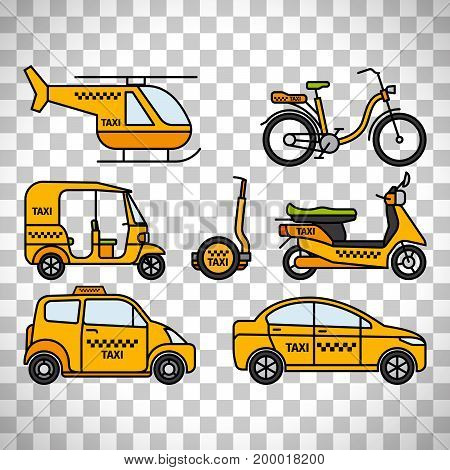 Taxicab and london cab, baby taxi and tuk-tuk rickshaw, helicopter taxi and bicycle taxi isolated on transparent background