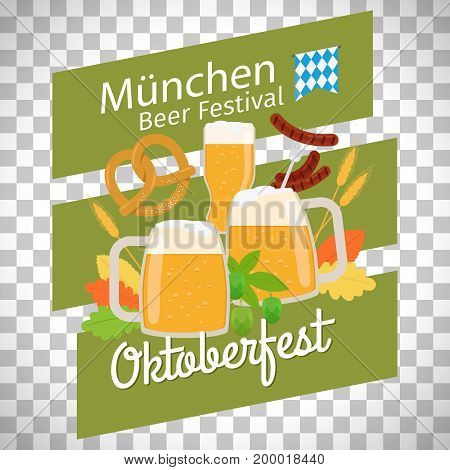 Oktoberfest modern poster isolated on transparent background, vector illustration