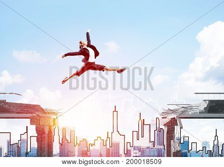 Business woman jumping over gap in concrete bridge as symbol of overcoming challenges. Cityscape and sunlight on background. 3D rendering.