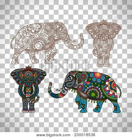 Vector decorated Indian elephant isolated on transparent background