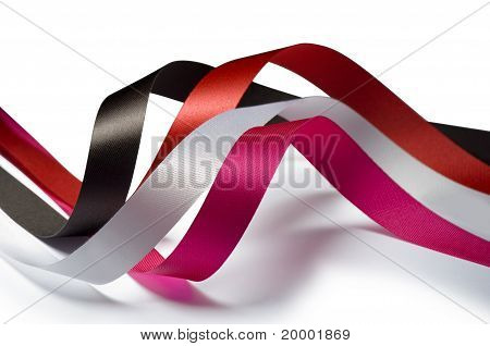 Ribbons Pink, Red, Brown And White