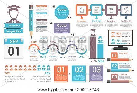 Education infographics design elements, vector eps10 illustration