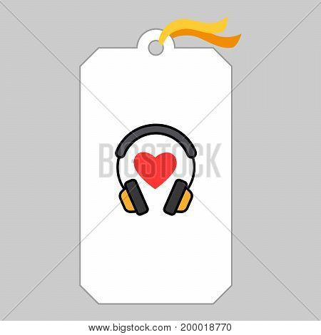 Music tag or musical label or banner with headphone and heart vector illustration