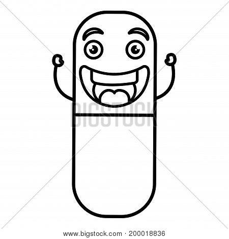 capsules medicine kawaii character vector illustration design