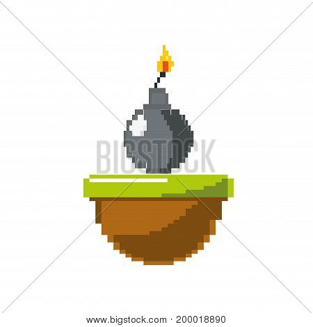 nuclear bomb explosion in the platform game vector illustration