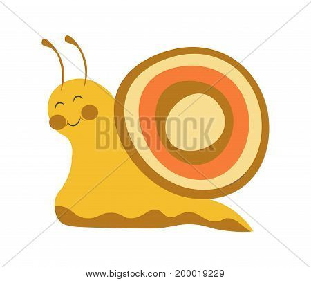 Adorable snail with colorful shell, smooth yellow body, closed eyes, friendly smile, round cheeks and long antennae isolated vector illustration on white background. Funny small animalistic character.