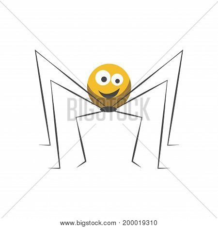 Friendly spider with round yellow body, big eyes, welcome smile and long thin legs isolated cartoon flat vector illustration on white background. Childish character with cute facial expression.