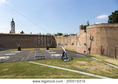 BELGRADE, SERBIA - JULY 31, 2017:Sports ground on the territory of the Belgorod fortress Serbia.
