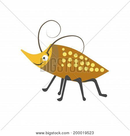 Beetle with small yellow spots on brown shell, many legs, long curly antennae and pointed nose isolated cartoon vector illustration on white background. Adorable bug with welcome facial expression.