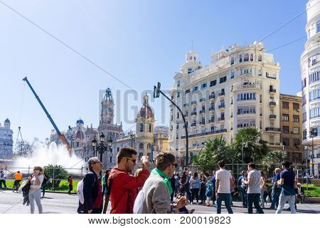 VALENCIA, SPAIN - March 10, 2017: street view of downtown valencia, is Spain's third largest metropolitan area, with a population ranging from 1.7 to 2.5 million.
