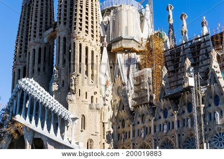 BARCELONA SPAIN - Sagrada Familia in Barcelona, is the capital city of the autonomous community of Catalonia in the Kingdom of Spain,February 9, 2017 in Barcelona Spain.