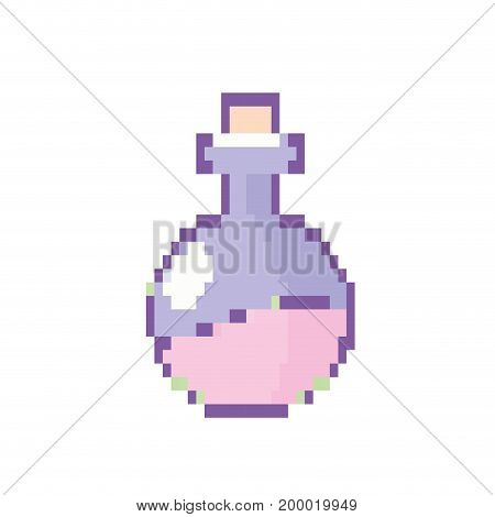 erlenmeyer flak with chemical potion experiment vector illustration