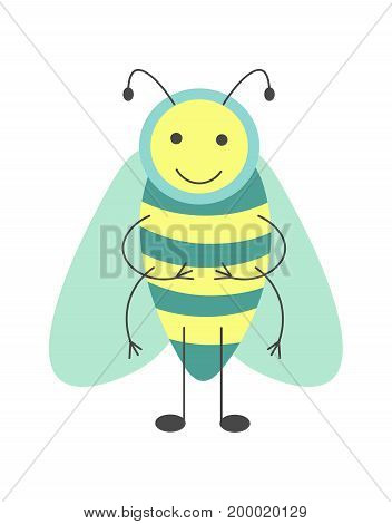 Cute hoverfly with long antennae, thin limbs, big transparent wings and striped body isolated cartoon vector illustration on white background. Funny insect with adorable face stands on two legs.