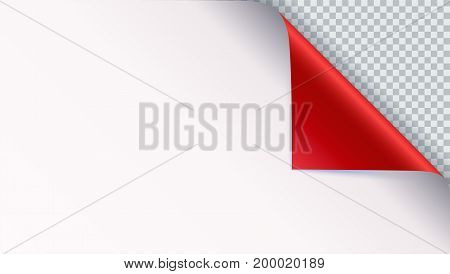 Page curl with shadow on blank sheet of paper. Vector curled corner of white paper with shadow. Close-up isolated on transparent background. Paper sticker, 3D illustration