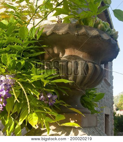 Ceramic Pot With Flowers On A Stone Wall, Valldemossa, Majorca, Spain.