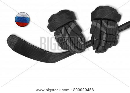 Russian hockey puck putter and gloves on white background. Concept hockey