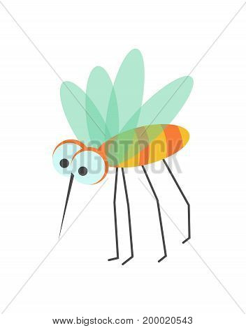 Funny mosquito with huge eyes, sharp proboscis, striped body, small transparent wings and long thin legs isolated vector illustration on white background. Intrusive insect drawn as cartoon character.