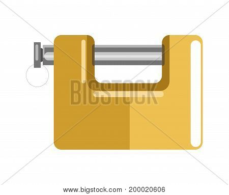 Lock with polished metal bolt and shiny square yellow corpus isolated cartoon flat vector illustration on white background. Simple compact device to keep door closed. Common device for security.