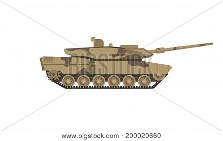 Military tank of camouflage color isolated cartoon flat vector illustration on white background. Armored combat vehicle on caterpillar tracks with cannon armament in turret on top as main weapon.