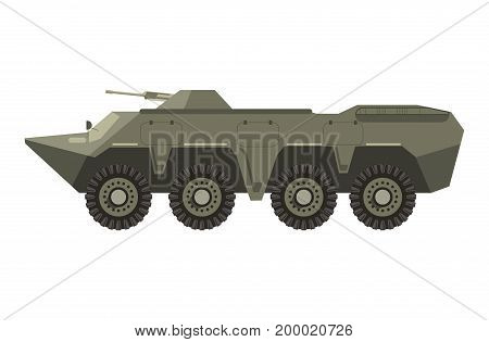 Military vehicle with sharp front part, bulletproof corpus, four pairs of wheels and cannon in turret isolated vector illustration on white background. Special transport for hostilities conduction.