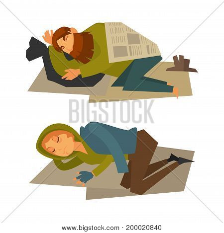 Homeless man with long beard covered with newspaper and woman in hoodie and gloves sleeping on cardboard isolated vector illustrations on white background. Unfortunate people spend night outdoors.