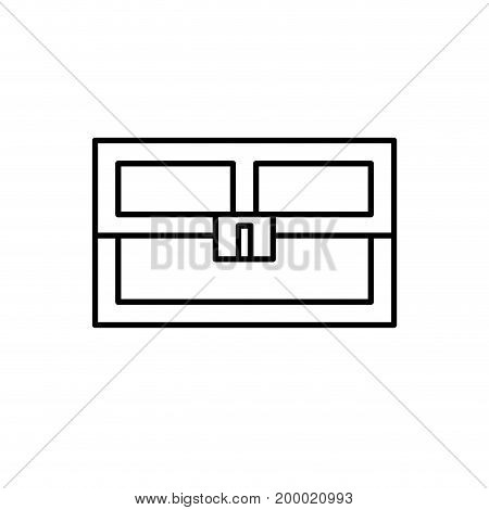 line video game treasure chest with many gold vector illustration